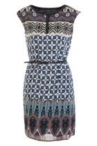 Boho Border Print Chiffon Dress