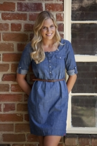EDC Cham V-Neck Shirt Dress W Belt