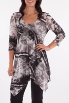 Clarity By Threadz Shadow Print Mesh Tunic