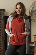 Cowl Neck Pull Over W Pockets