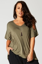 Hi Lo Cut Out Slv Tunic