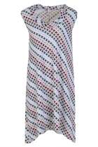 Twist Neckband Diamond Print Dress
