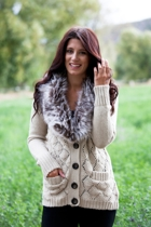 Detachable Faux Fur Collar Cardi