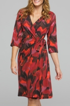 Red Strokes Wrap Dress