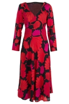 Maggie Wrap Dress Floral Fan