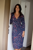 Splash Print 3/4 Slv Wrap Dress