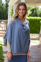 Cotton Cowl Neck Poncho