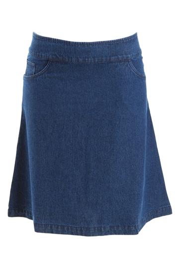 boho bird chain denim skirt womens knee length