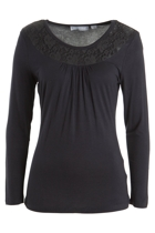 Lace Yoke Jersey L/S Top