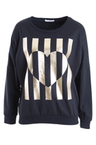 Daria Stripe Heart Sweat
