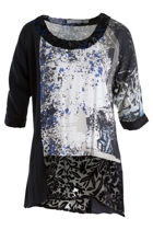 Orientique Uneven Hem Print Top