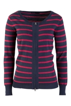 Stripe Scoop Neck Zip Cardi