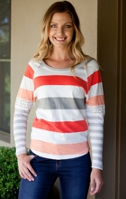Stripe Lace Trim Top
