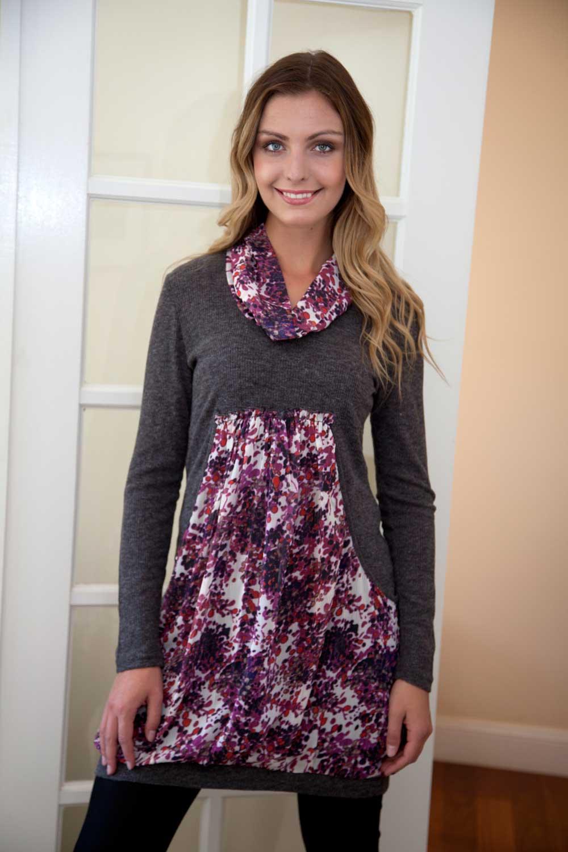 Boo Radley Parisian City Woven Print & Knit Dress