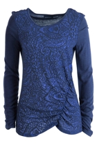 Jacquard Knitted Rouched Top