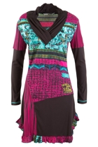 V Neck Mix Print Frill Edge Tunic