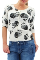 Flower Print Button Thru Cotton Cardi