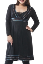 Black V Neck L/S Dress With Trim