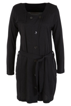 Collarless Waist Tie Coat