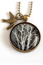 Black & White Tree Pendant