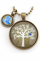 Blue Bird In Tree Pendant