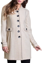 See Saw Contrast Stitch Detail Wool Coat