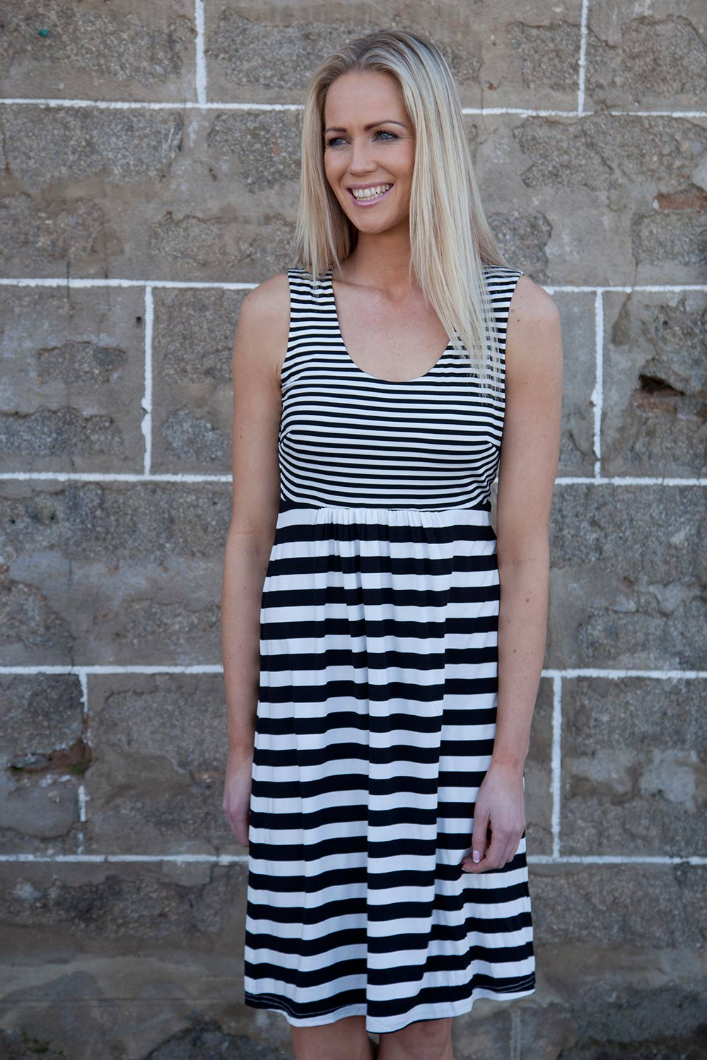 Ping Pong Stripe Gather Front Jersey Dress