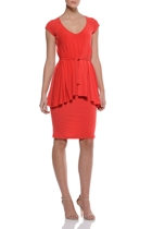 Ivory coast cap sleeve dress  belted   tangerine  small2