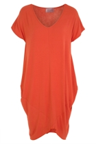 Oragami tee dress tangerine front small2