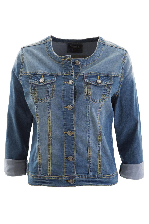 NEW-Threadz-Womens-Jackets-Collarless-Denim-Jacket - NEW Threadz Womens Jackets Collarless Denim Jacket EBay