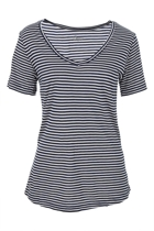 Manhattan v neck tee navywhtestripe small2