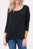 Milan 3 4 sleeve top black crop small2