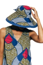 Reversable broad brim hat africblue small2