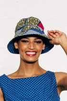 Reversible narrow brim hat africblue small2