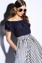 Off shoulder frill top  navy  and garden row midi skirt  stripe navy  close small2