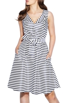 Picket fence dress  stripe navy  small2