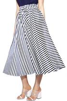 Off shoulder frill top  navy  and garden row midi skirt  stripe navy  small2