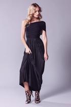 Grecian convertible dress  black   one shoulder   2  small2