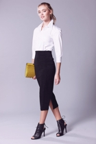 Pencil skirt  black  3 4 sleeve shirt white   tucked  hero small2