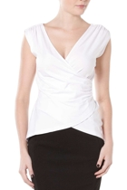 Wrap cap sleeve top  white   2  small2