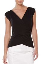 Wrap cap sleeve top  black  with denim pencil skirt  white  small2