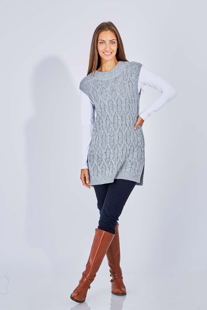 marco polo clothing sleeveless cable jumper womens jumpers birdsnest online clothing store. Black Bedroom Furniture Sets. Home Design Ideas