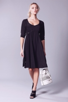 Gathered empire dress  black  white bag small2