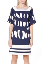 Leader of the pack tunic  navy white block print   2  small2