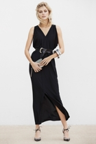 Column drape dress  long   black  small2