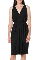 Column drape dress  black  v neck belted long tie1 small2