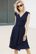 Wrap cap sleeve dress  navy  full  2  small2