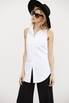 Lily cut away shirt  white  and seamless pant  black  close small2